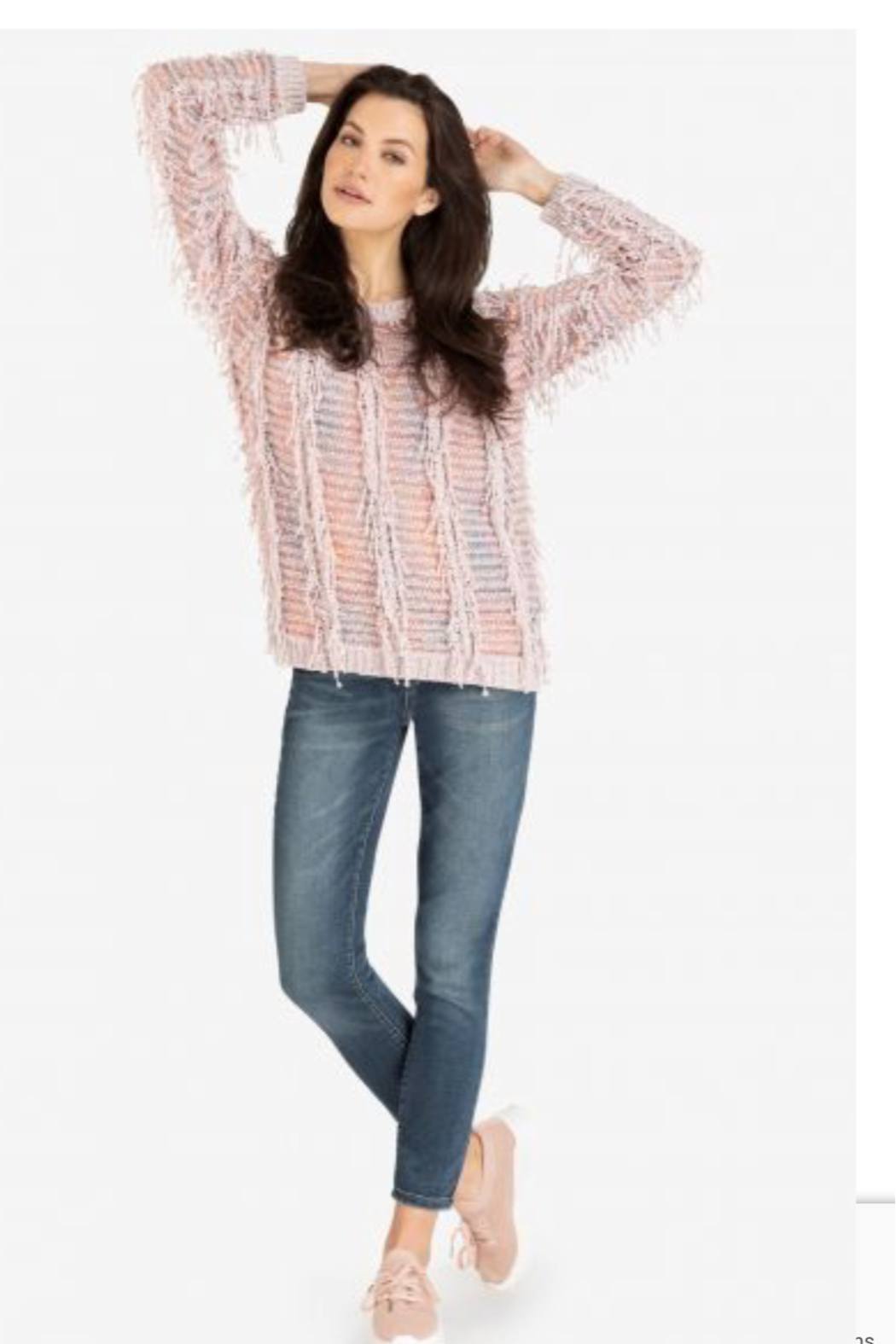 Tribal Pretty Pink Sweater - Front Cropped Image