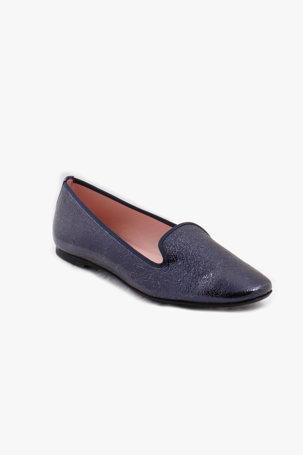 Pretty Ballerinas Navy Faye Loafers - Side Cropped Image