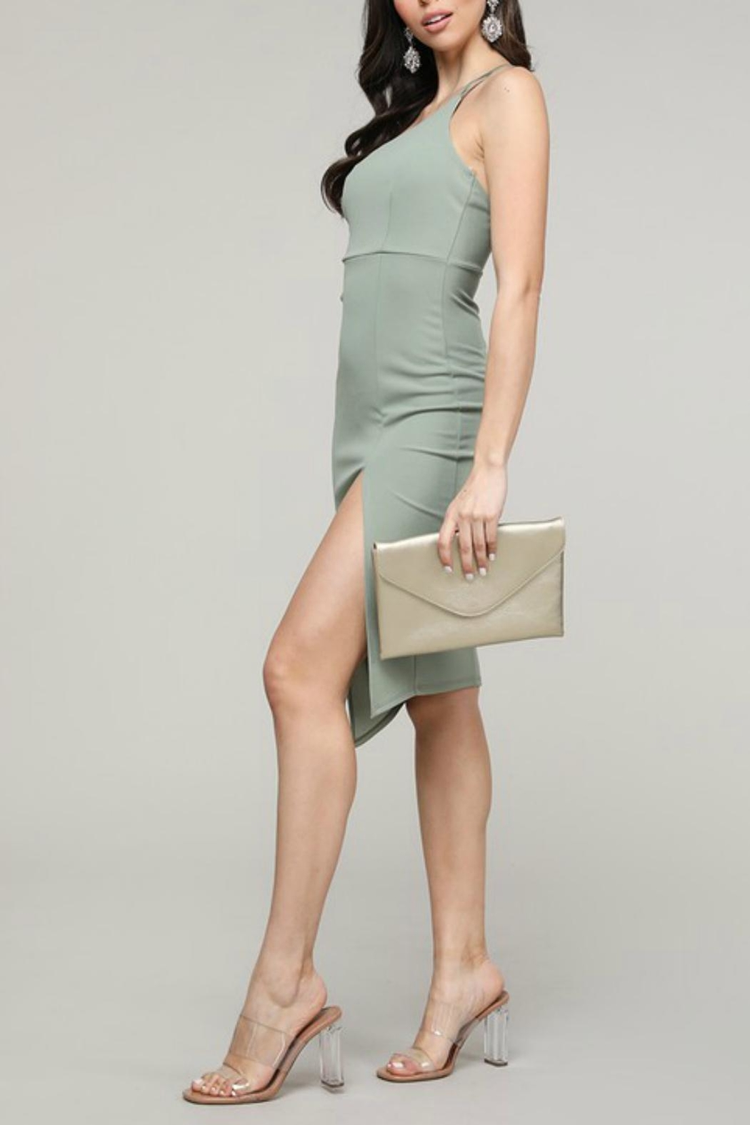 Pretty Little Things Asymmetrical Midi Dress - Front Full Image