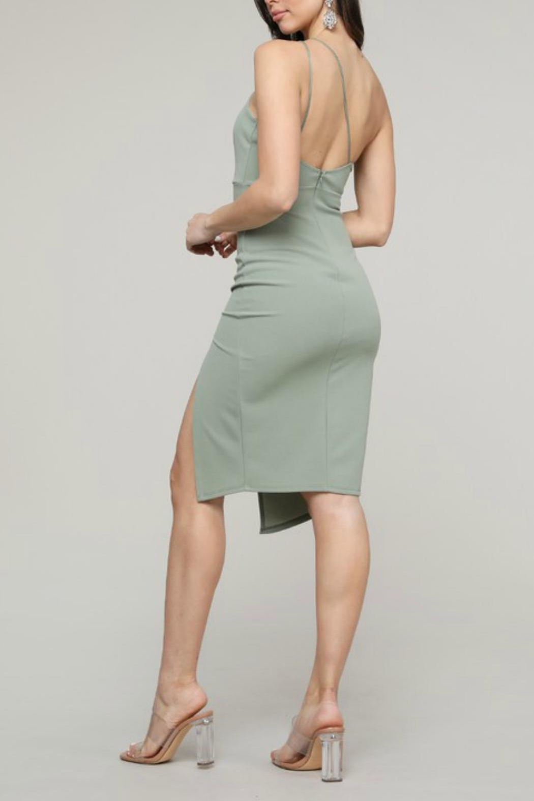 Pretty Little Things Asymmetrical Midi Dress - Side Cropped Image