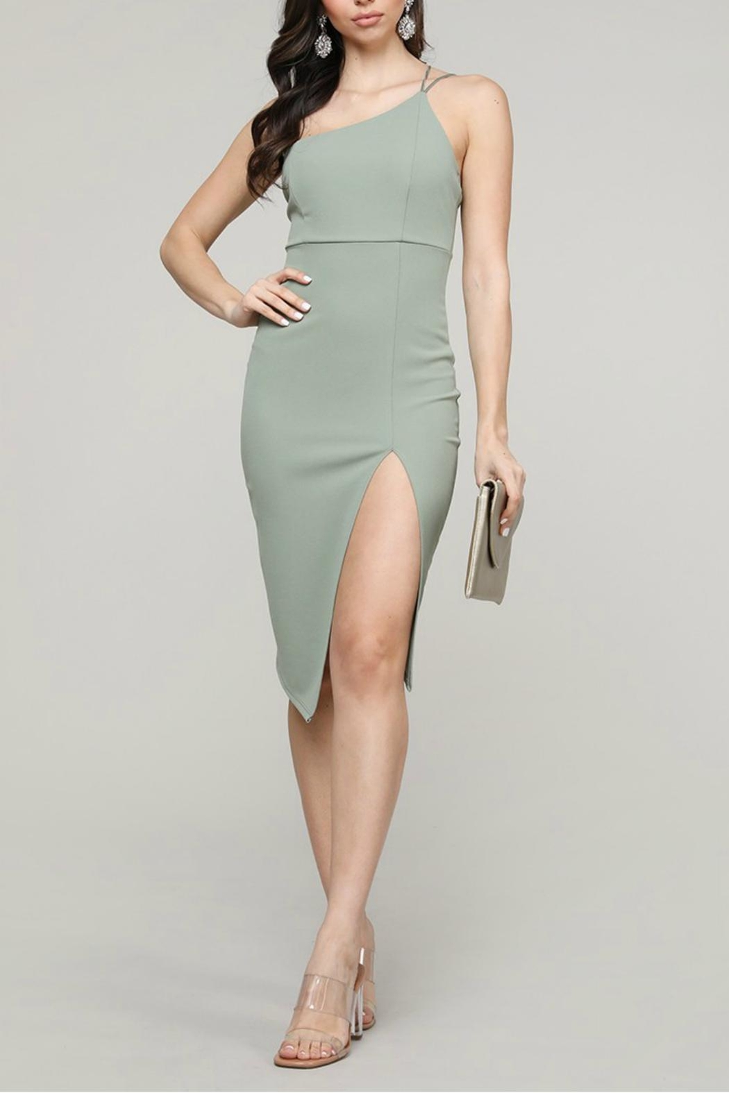 Pretty Little Things Asymmetrical Midi Dress - Front Cropped Image
