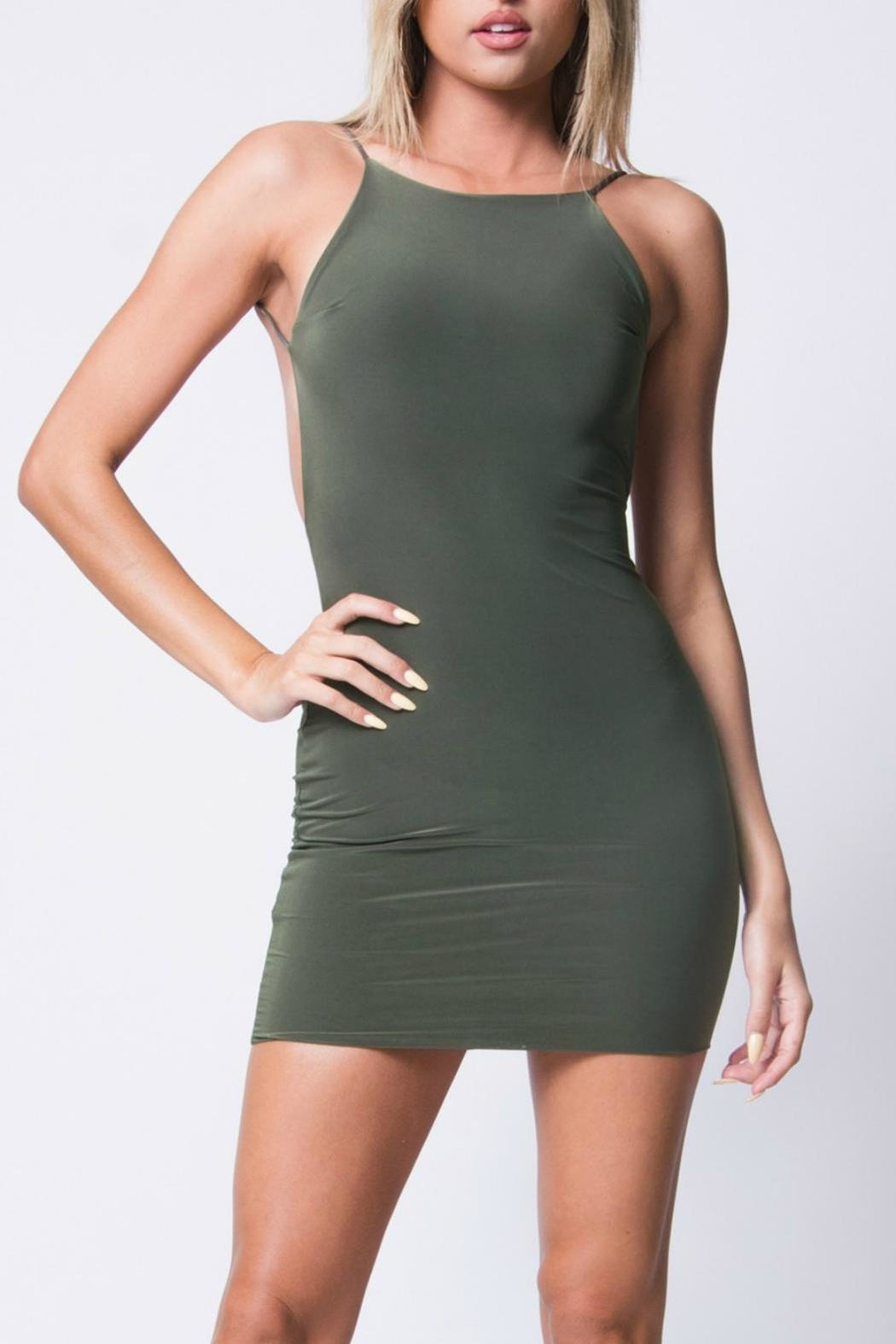 Pretty Little Things Backless Bodycon Dress - Front Cropped Image