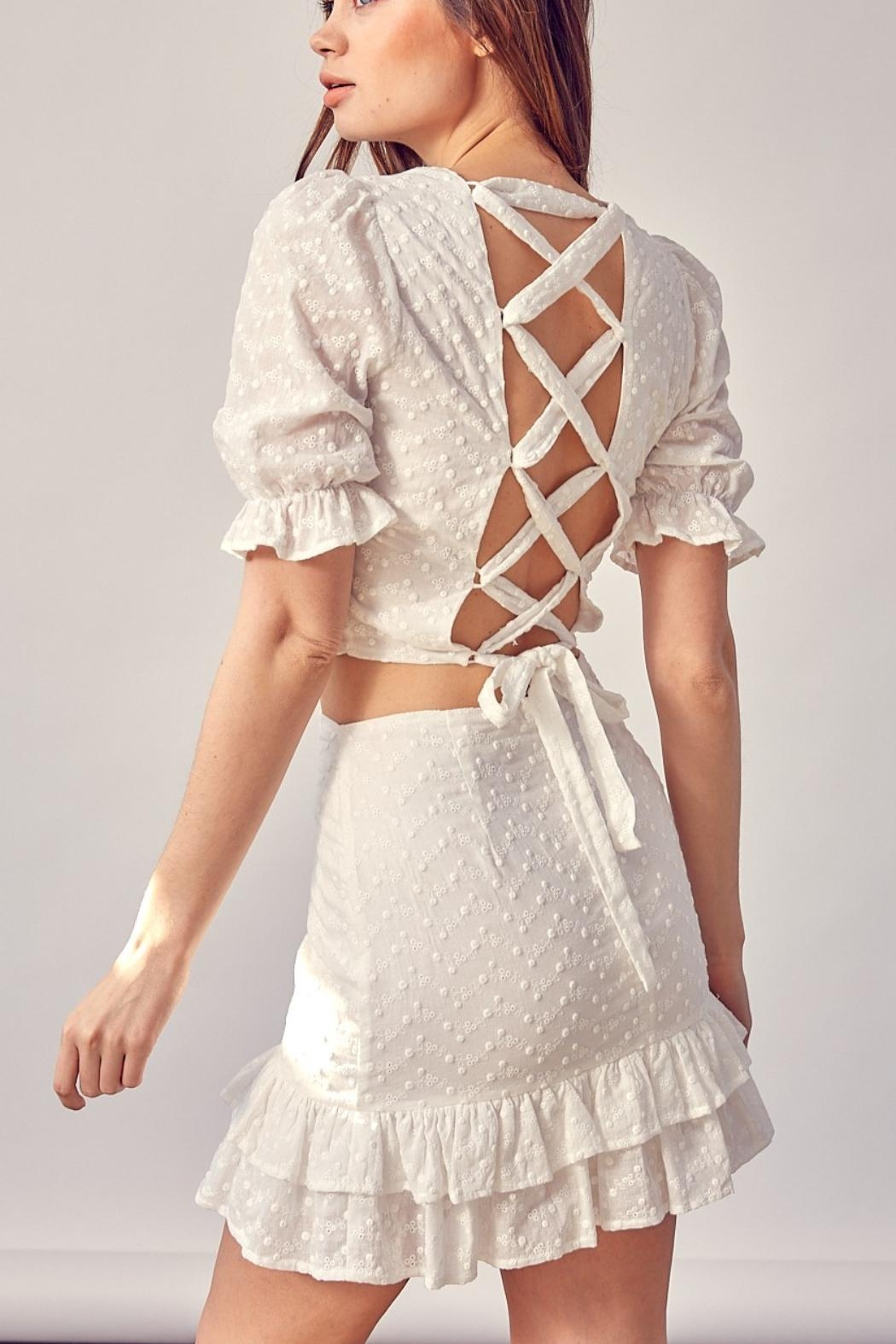 Pretty Little Things Backless Lace Top - Main Image