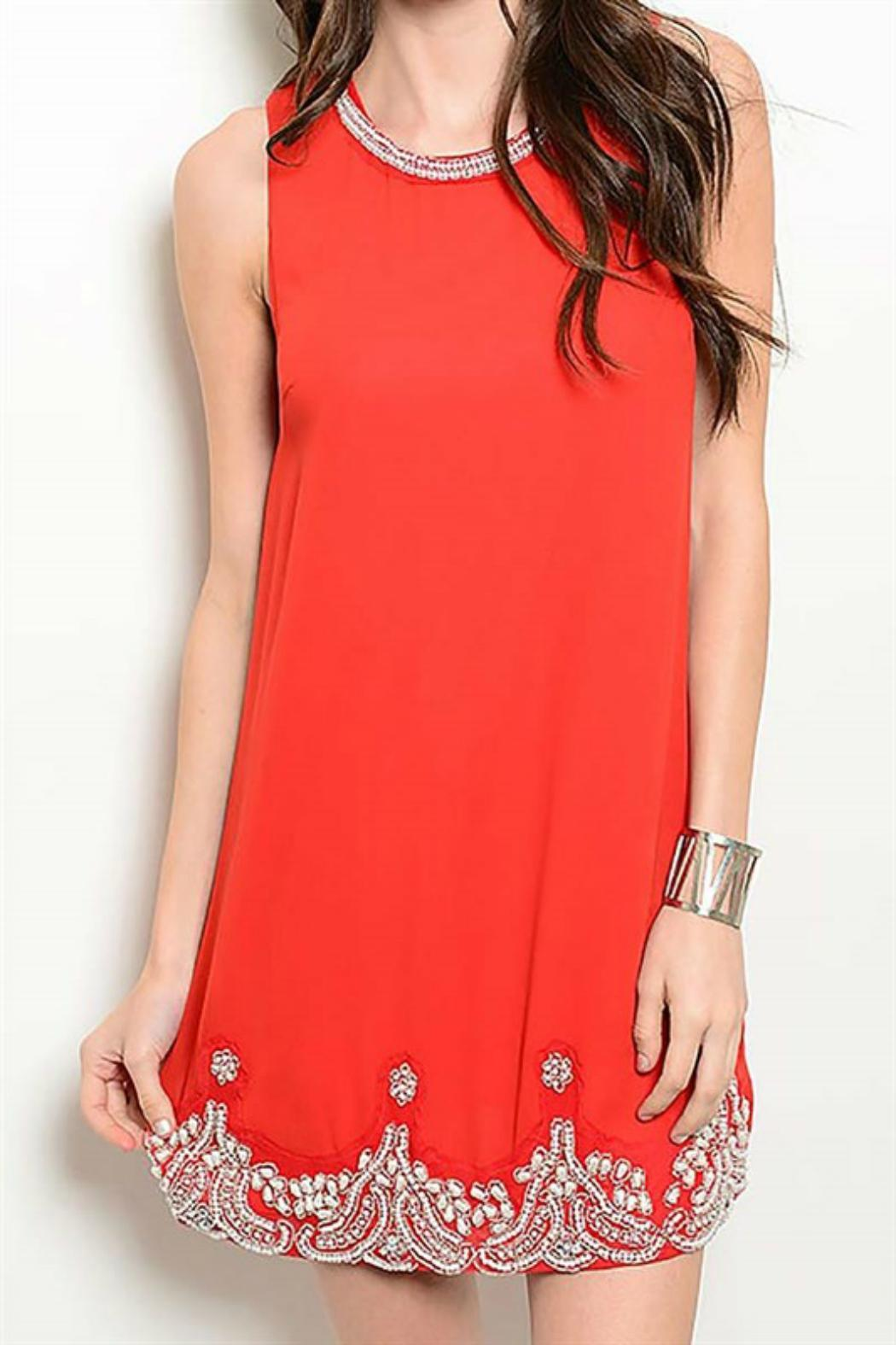 Pretty Little Things Beaded Chiffon Dress - Front Cropped Image