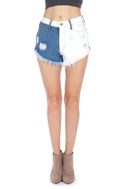 Pretty Little Things Bleached Denim Shorts - Front full body