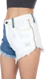 Pretty Little Things Bleached Denim Shorts - Front cropped