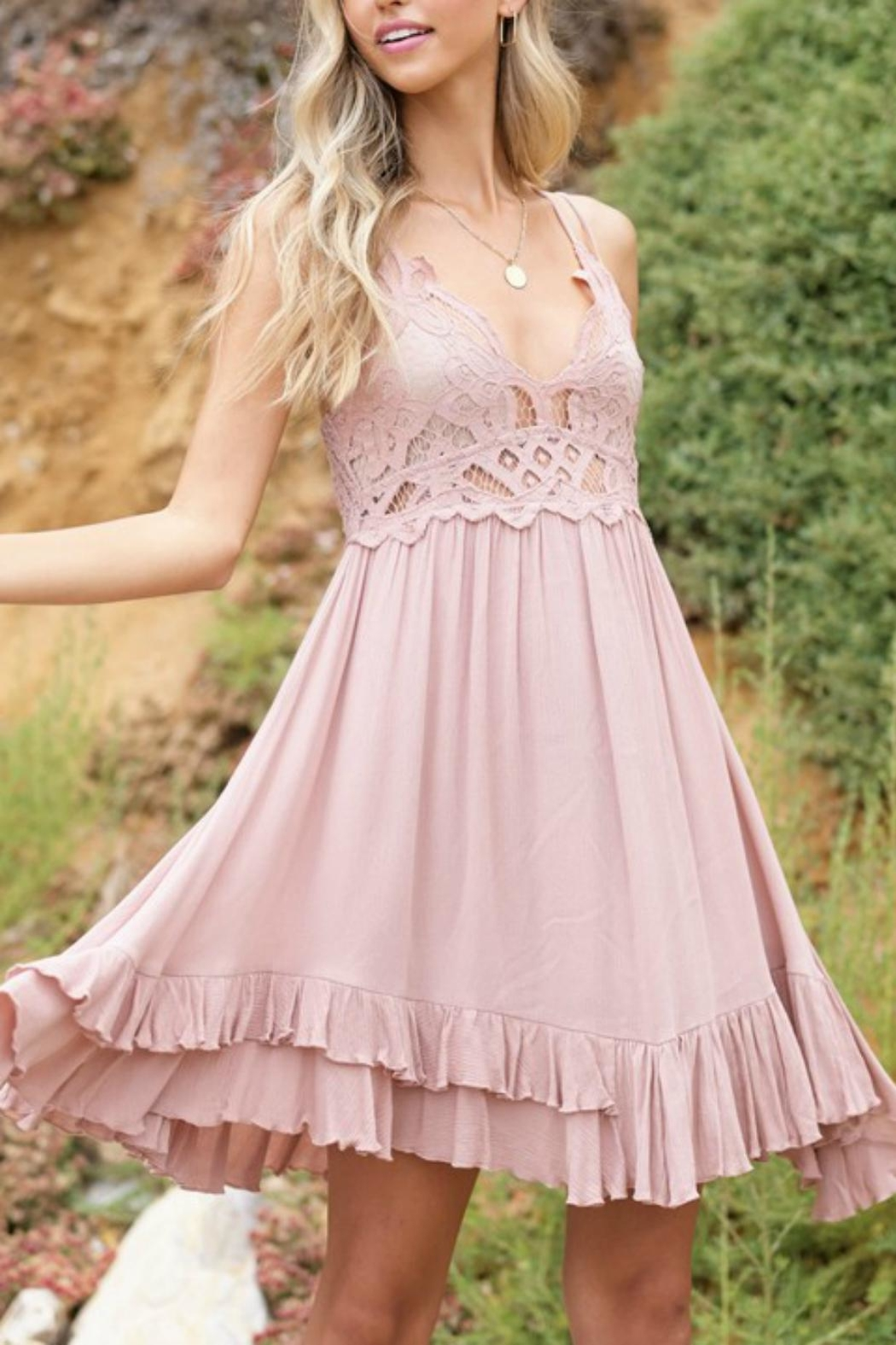 Pretty Little Things Boho Bralette Dress - Front Cropped Image