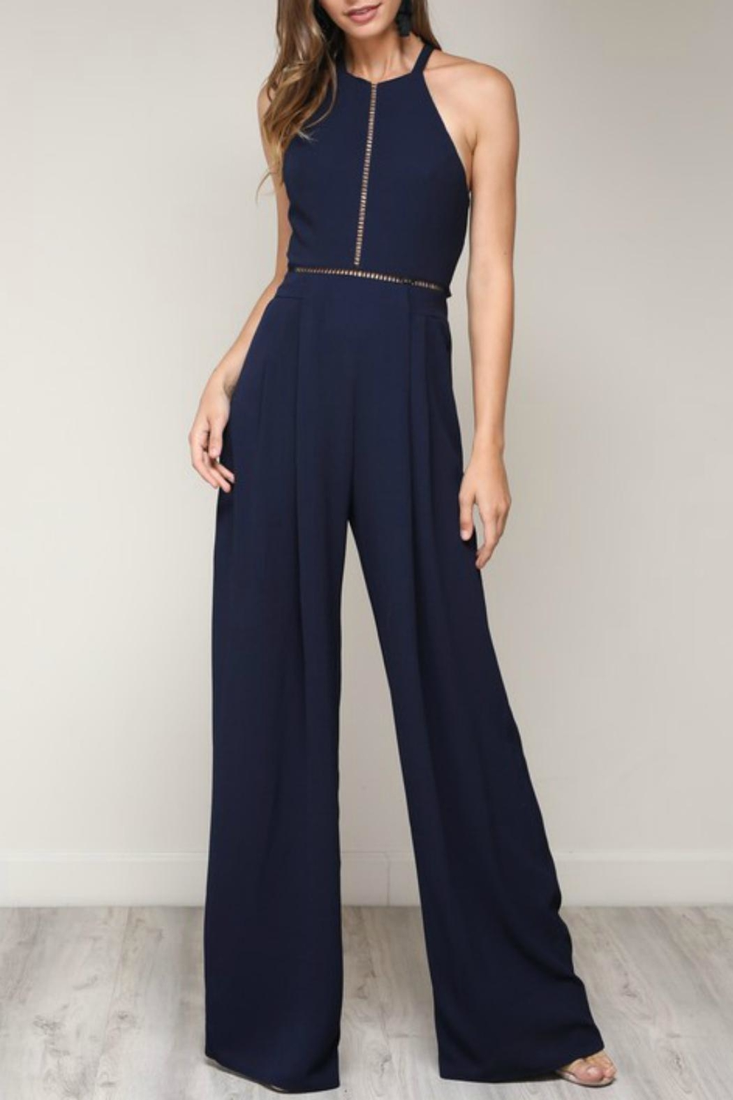 Pretty Little Things Bow Back Jumpsuit - Front Cropped Image