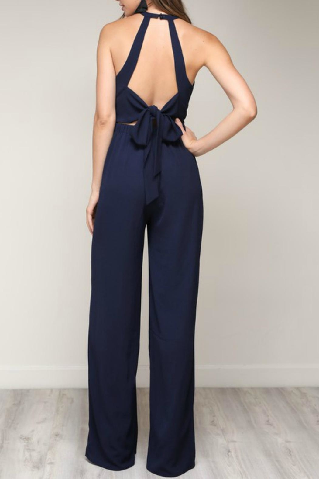 Pretty Little Things Bow Back Jumpsuit - Front Full Image