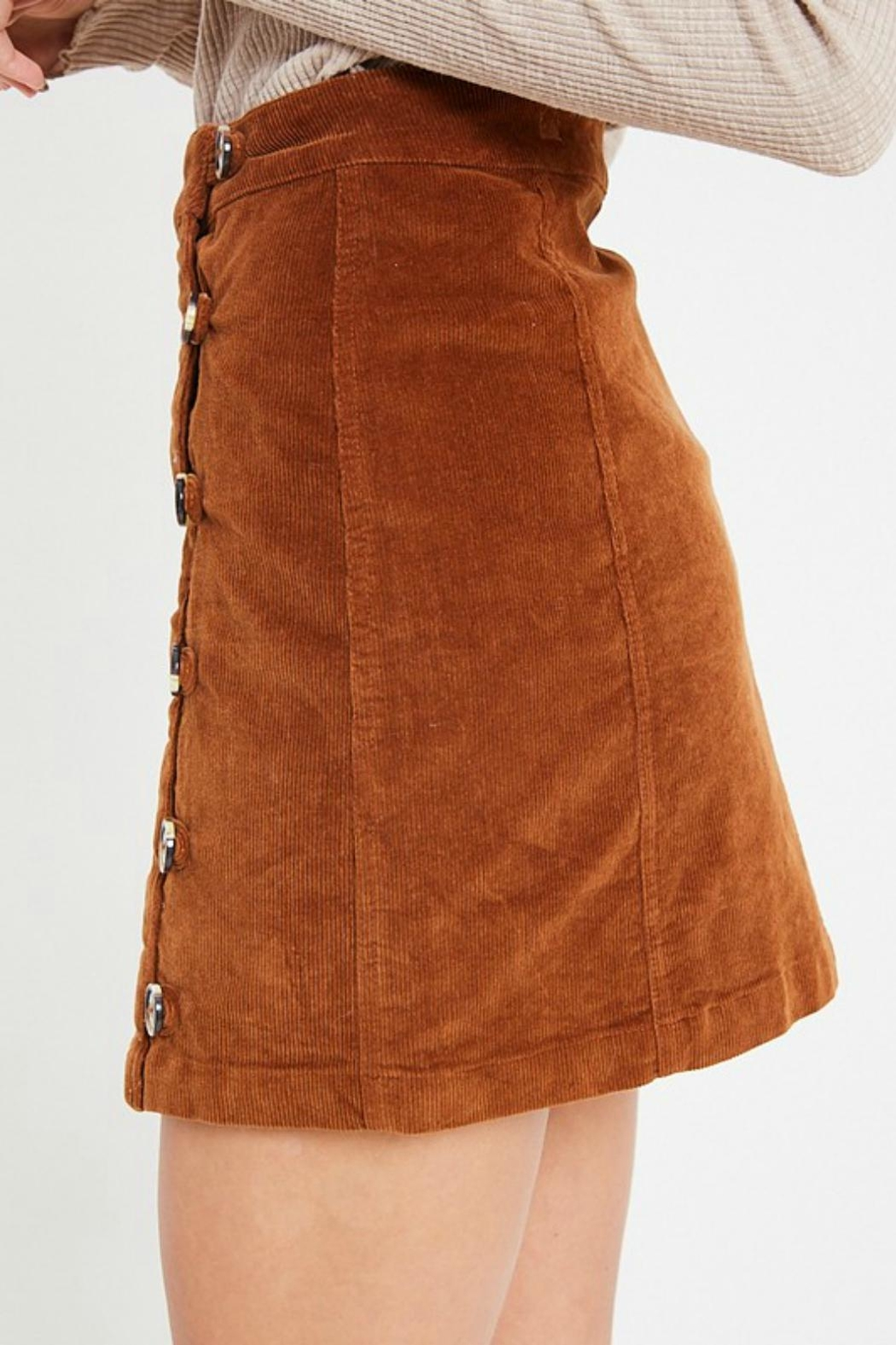 Pretty Little Things Button Corduroy Skirt - Front Full Image