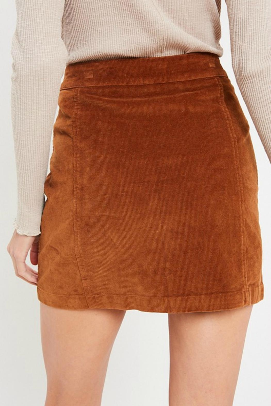 Pretty Little Things Button Corduroy Skirt - Side Cropped Image