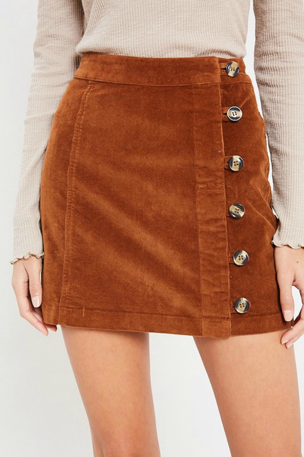 Pretty Little Things Button Corduroy Skirt - Main Image