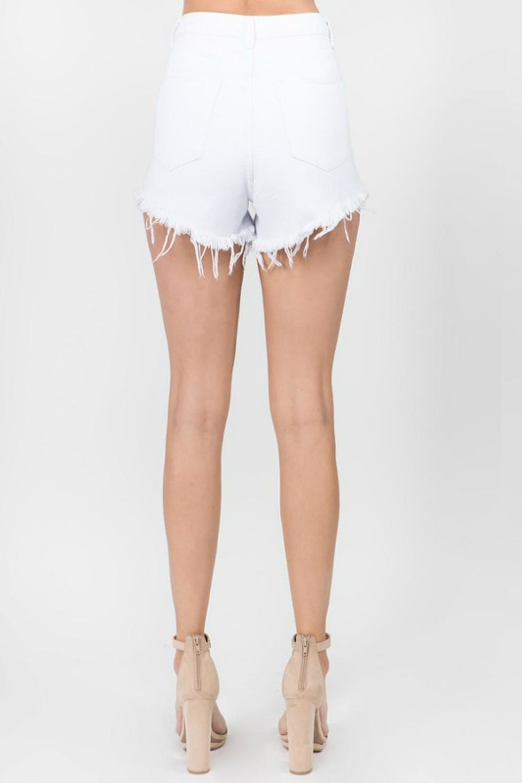 Pretty Little Things Button Denim Shorts - Back Cropped Image
