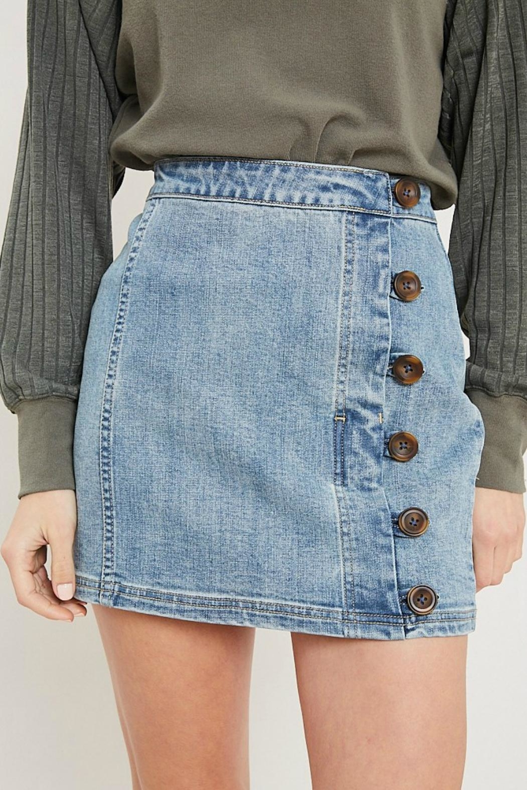 Pretty Little Things Button Denim Skirt - Front Cropped Image