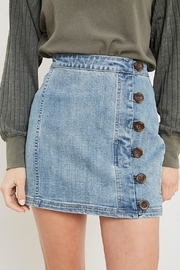 Pretty Little Things Button Denim Skirt - Front cropped