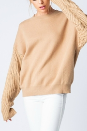 Pretty Little Things Cable Sleeve Sweater - Front cropped