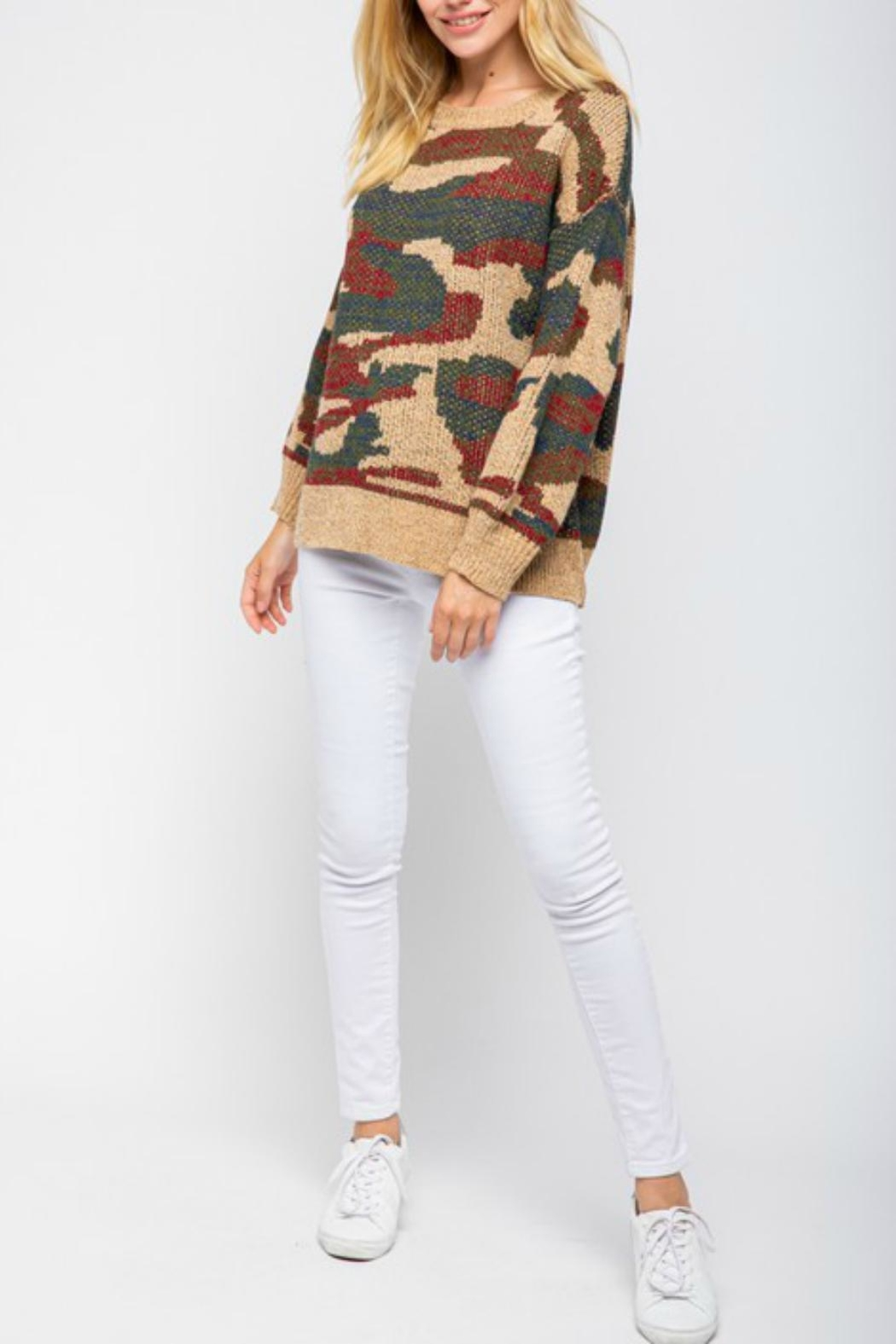 Pretty Little Things Camel Camo Sweater - Front Full Image