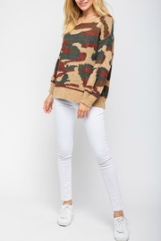 Pretty Little Things Camel Camo Sweater - Front full body
