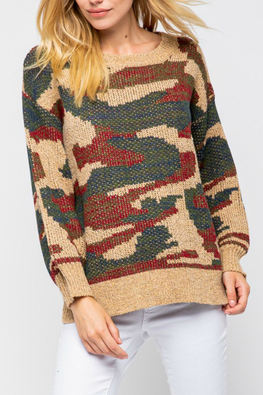 Pretty Little Things Camel Camo Sweater - Main Image