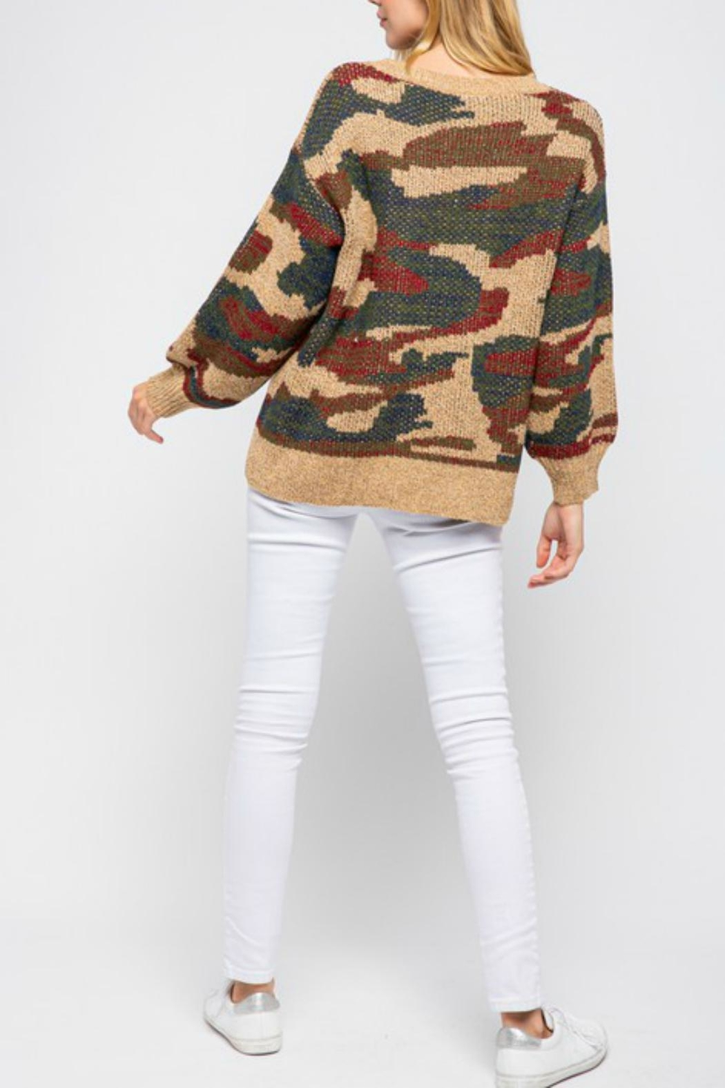 Pretty Little Things Camel Camo Sweater - Side Cropped Image