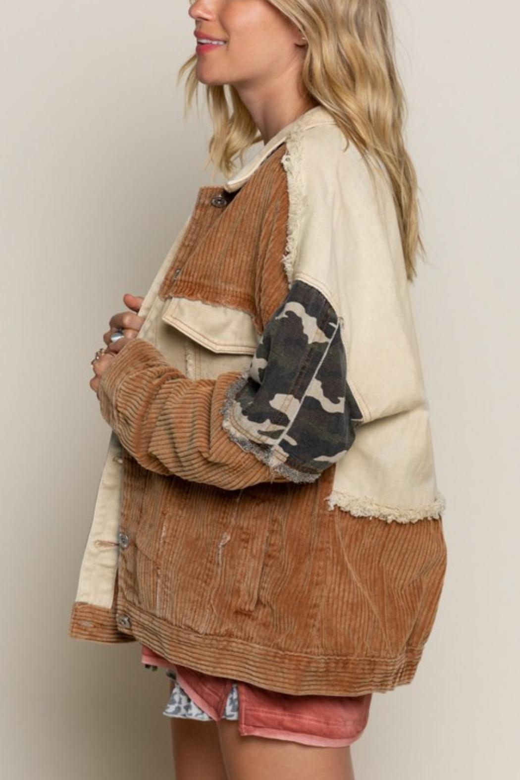 Pretty Little Things Camo Patchwork Jacket - Front Full Image