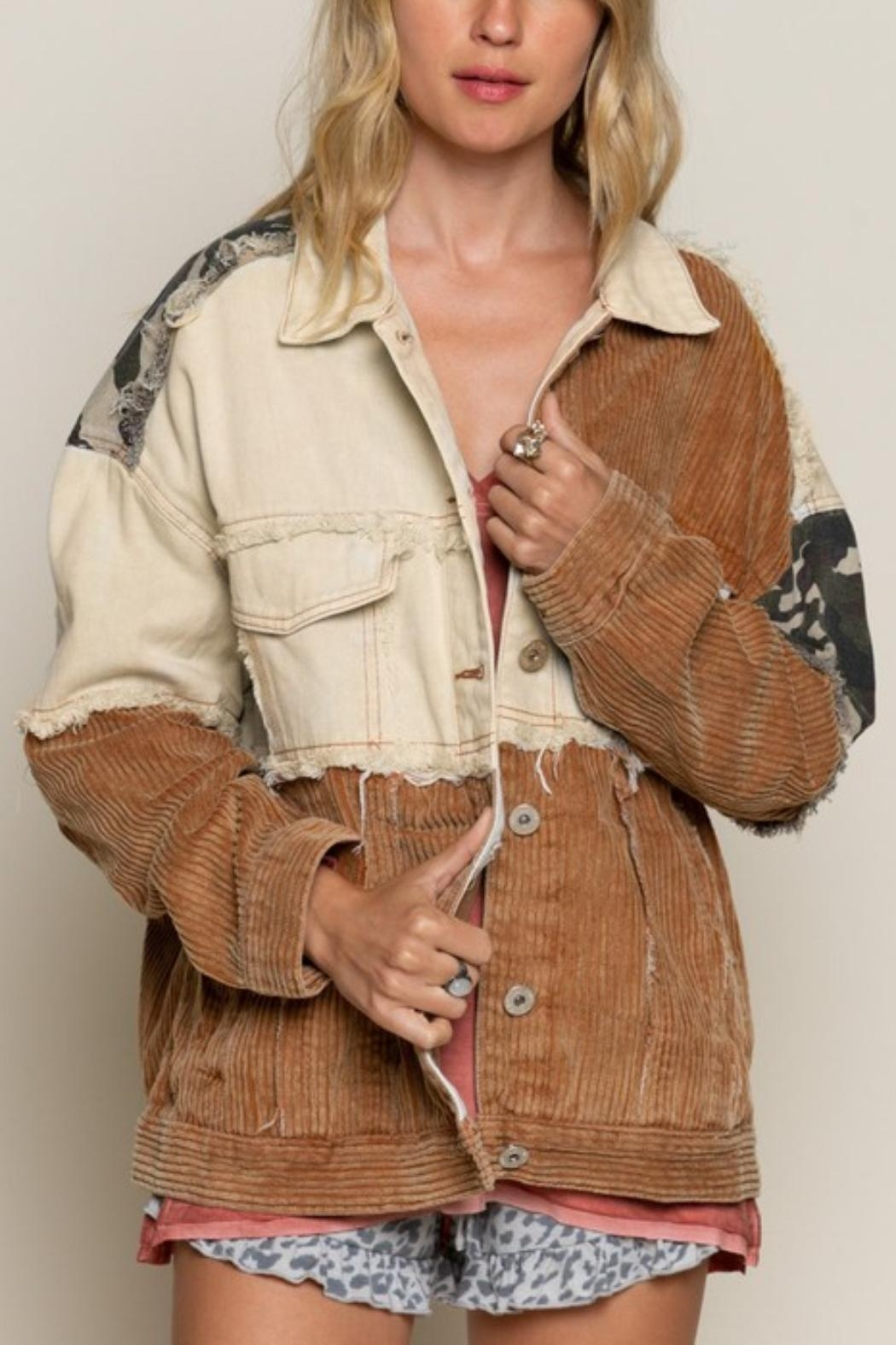 Pretty Little Things Camo Patchwork Jacket - Main Image