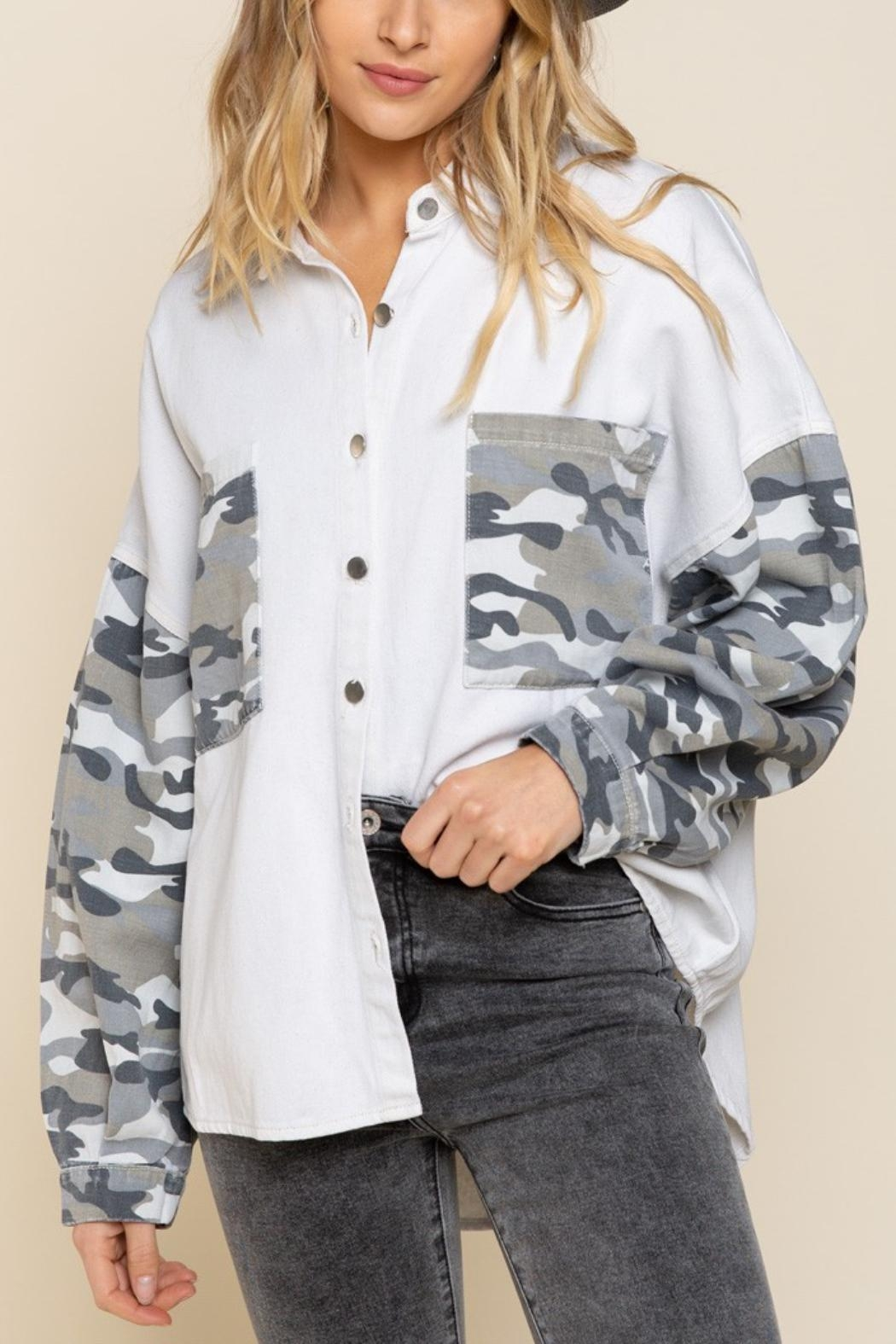Pretty Little Things Camo Shirt Jacket - Main Image