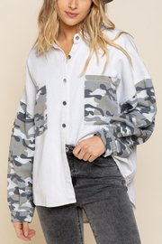 Pretty Little Things Camo Shirt Jacket - Front cropped