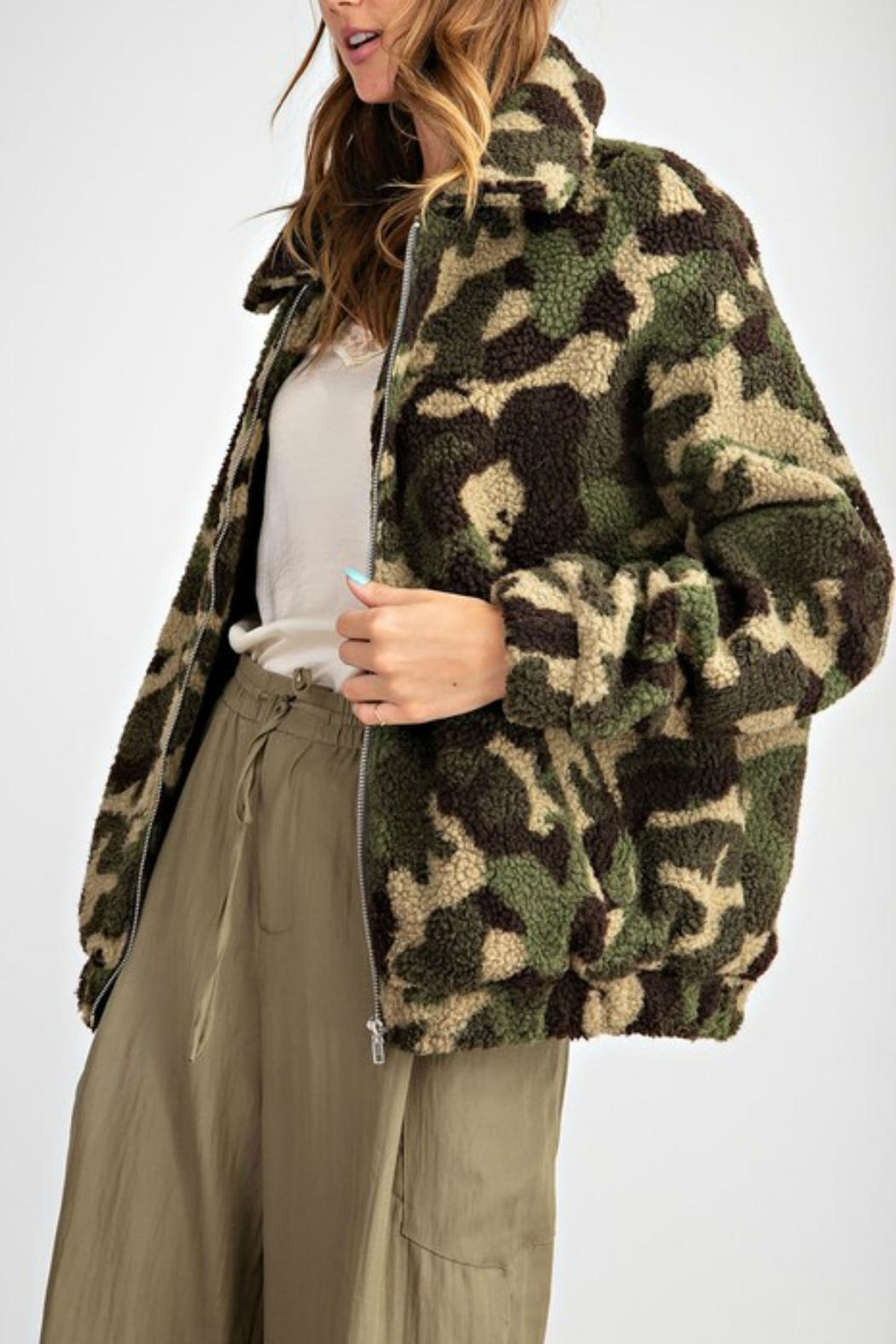 Pretty Little Things Camo Teddy Coat - Front Full Image