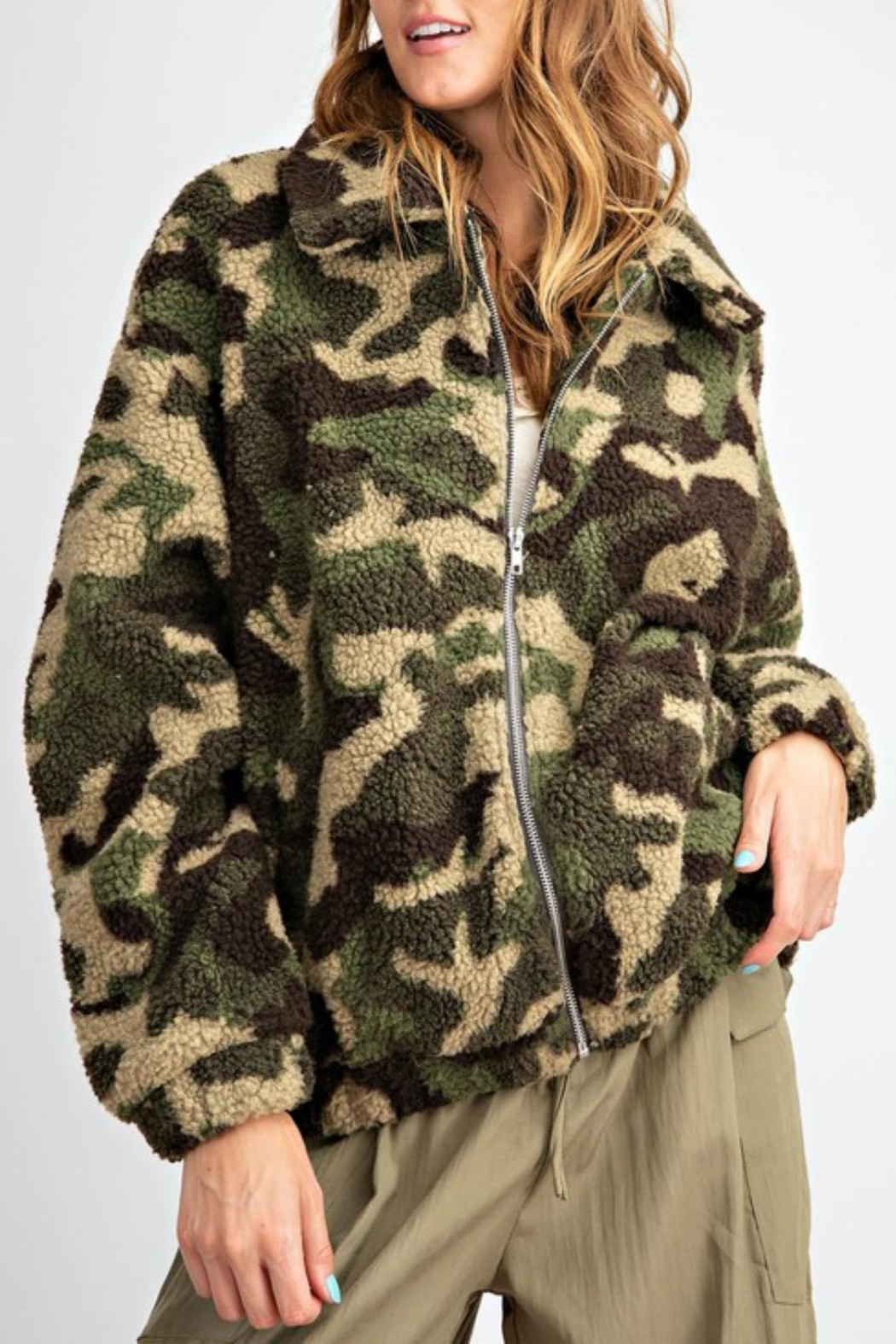 Pretty Little Things Camo Teddy Coat - Main Image