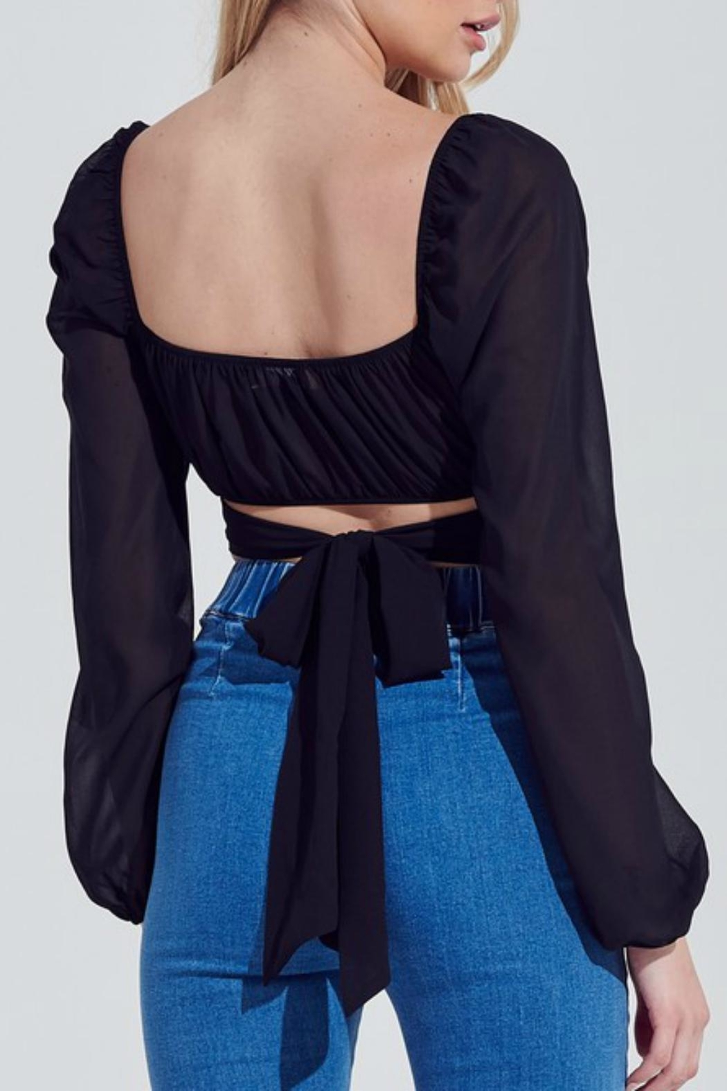 Pretty Little Things Chiffon Bubble-Sleeve Top - Front Full Image