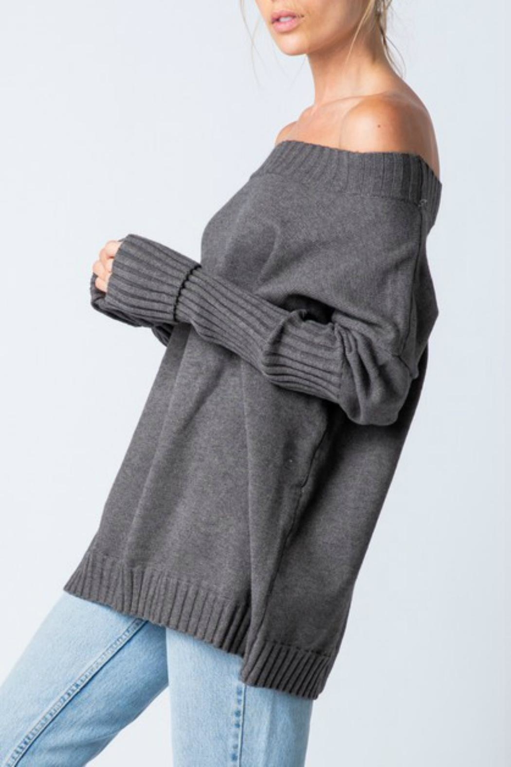 Pretty Little Things Cold Shoulder Sweater - Front Full Image