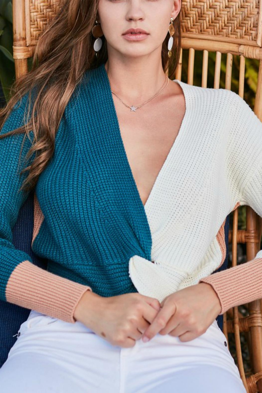 Pretty Little Things Colorblock Knotted Sweater - Main Image