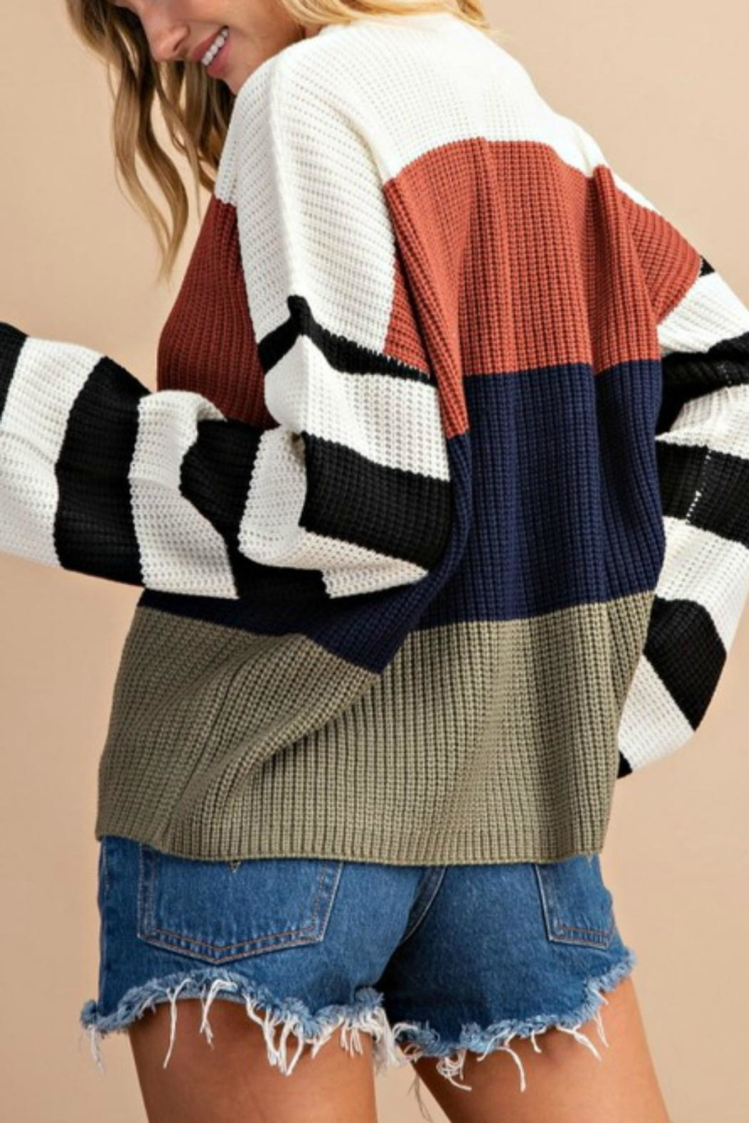Pretty Little Things Colorblock Pullover Sweater - Front Full Image