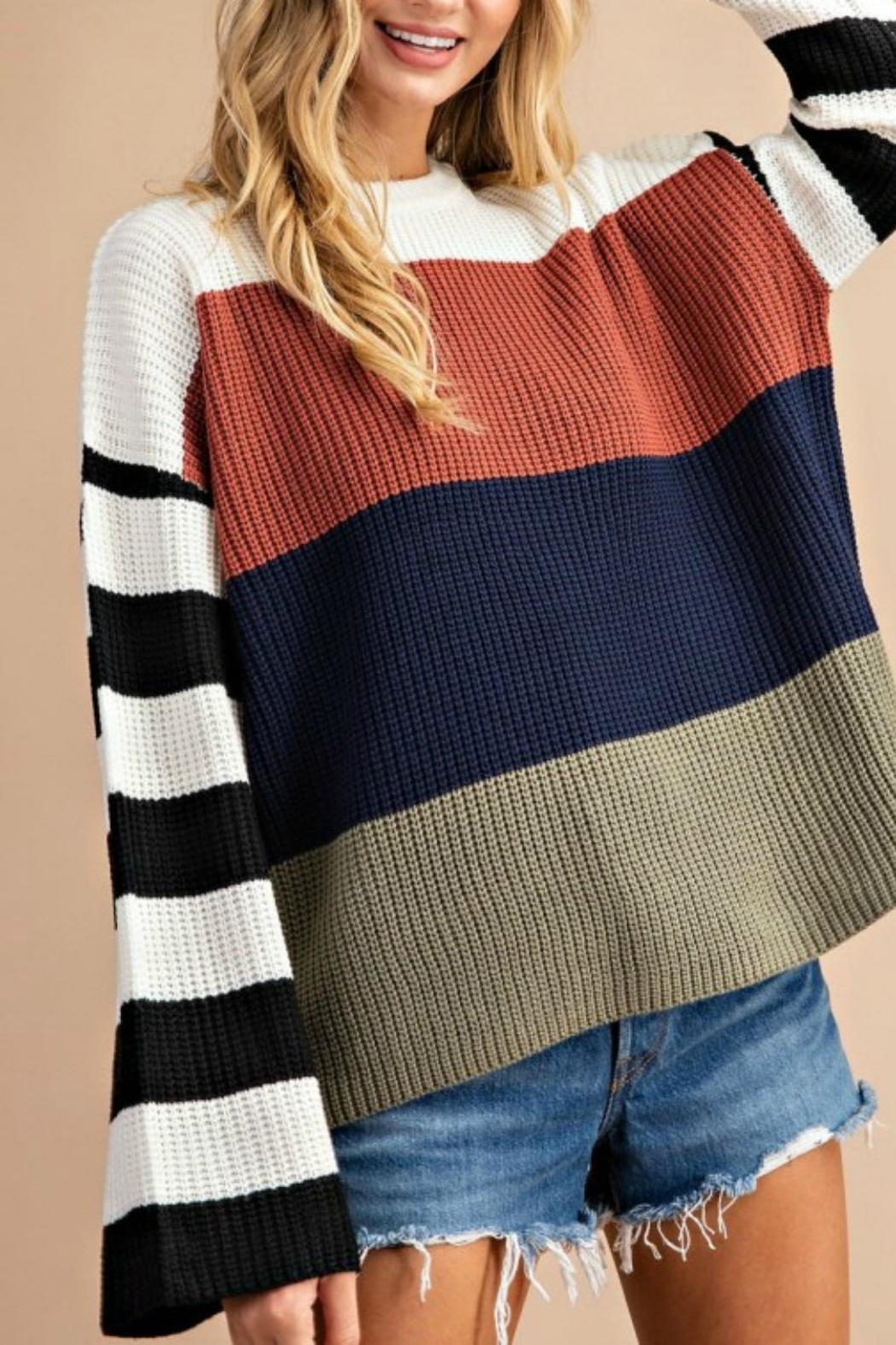 Pretty Little Things Colorblock Pullover Sweater - Front Cropped Image