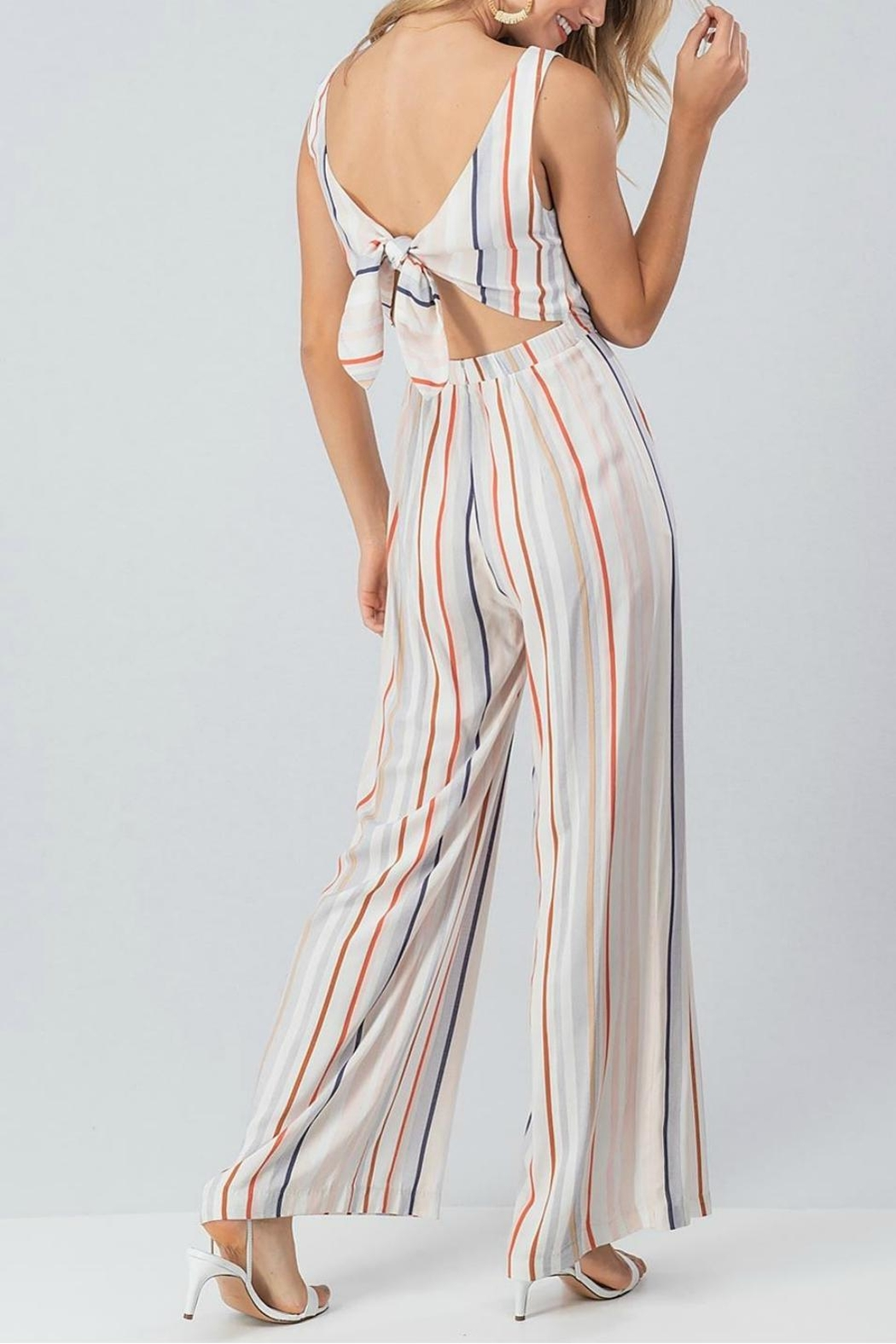 Pretty Little Things Colorblock Stripe Jumpsuit - Front Full Image