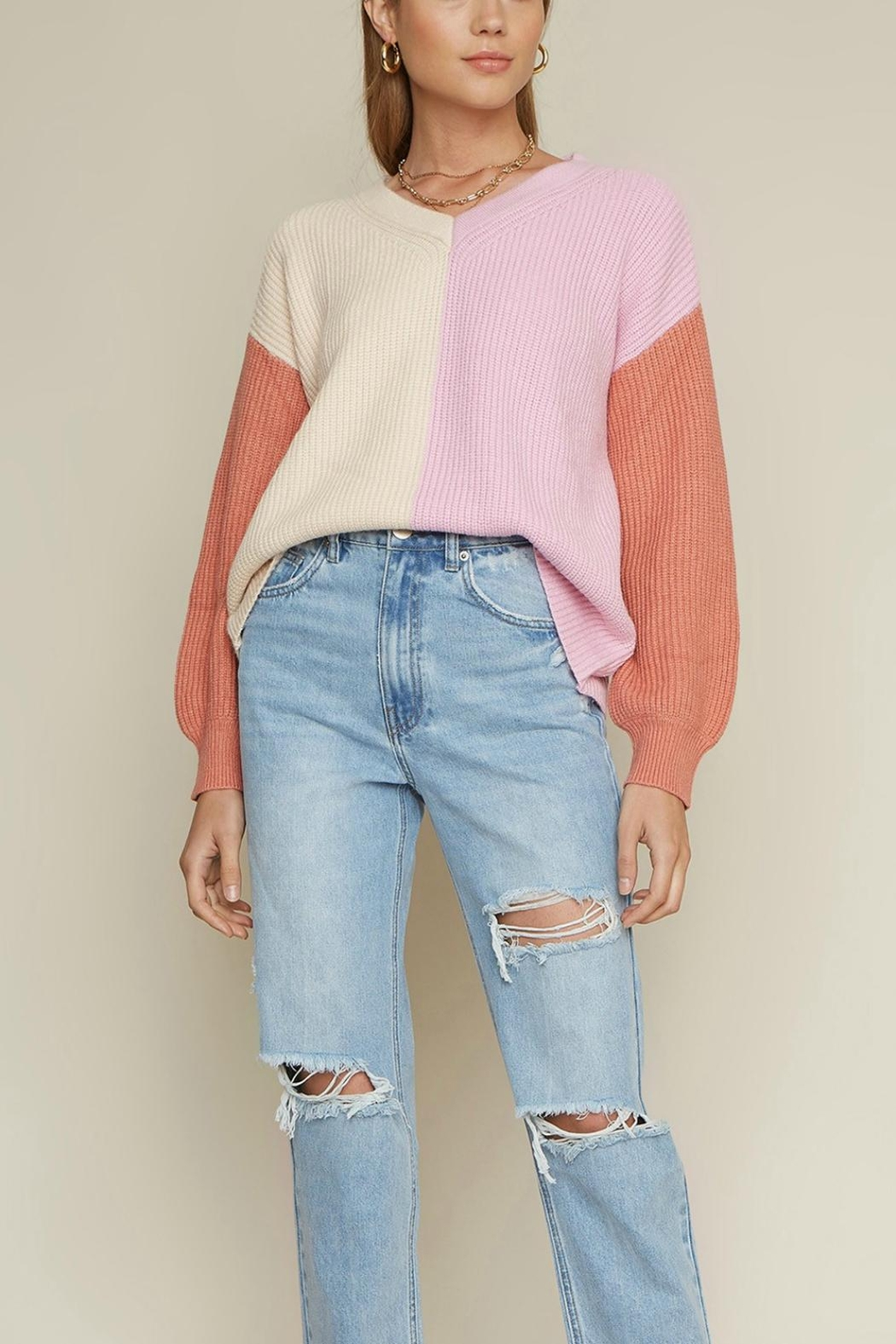 Pretty Little Things Colorblock Sweater - Main Image
