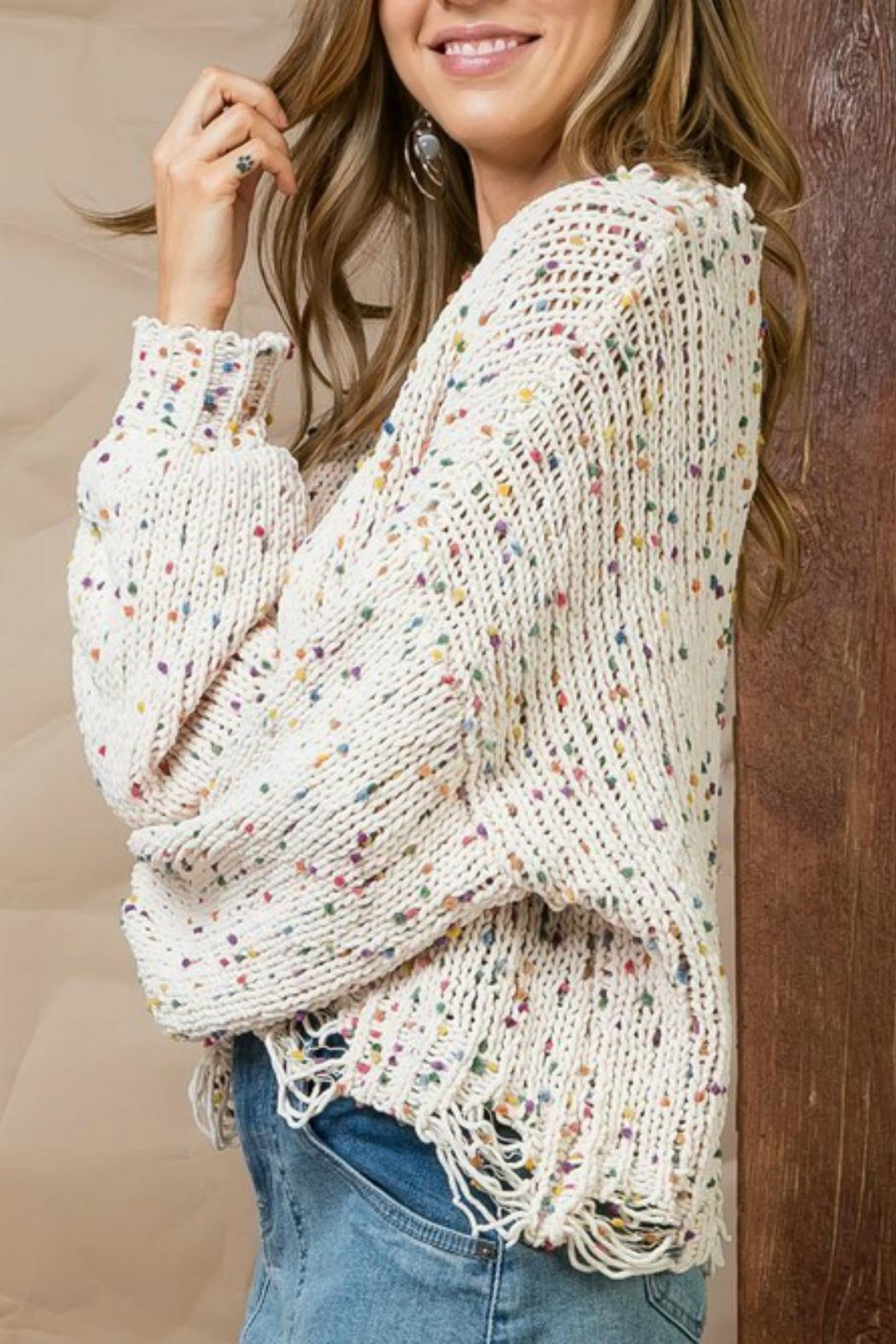 Pretty Little Things Confetti Distressed Sweater - Front Full Image