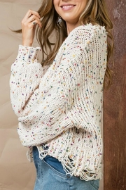 Pretty Little Things Confetti Distressed Sweater - Front full body
