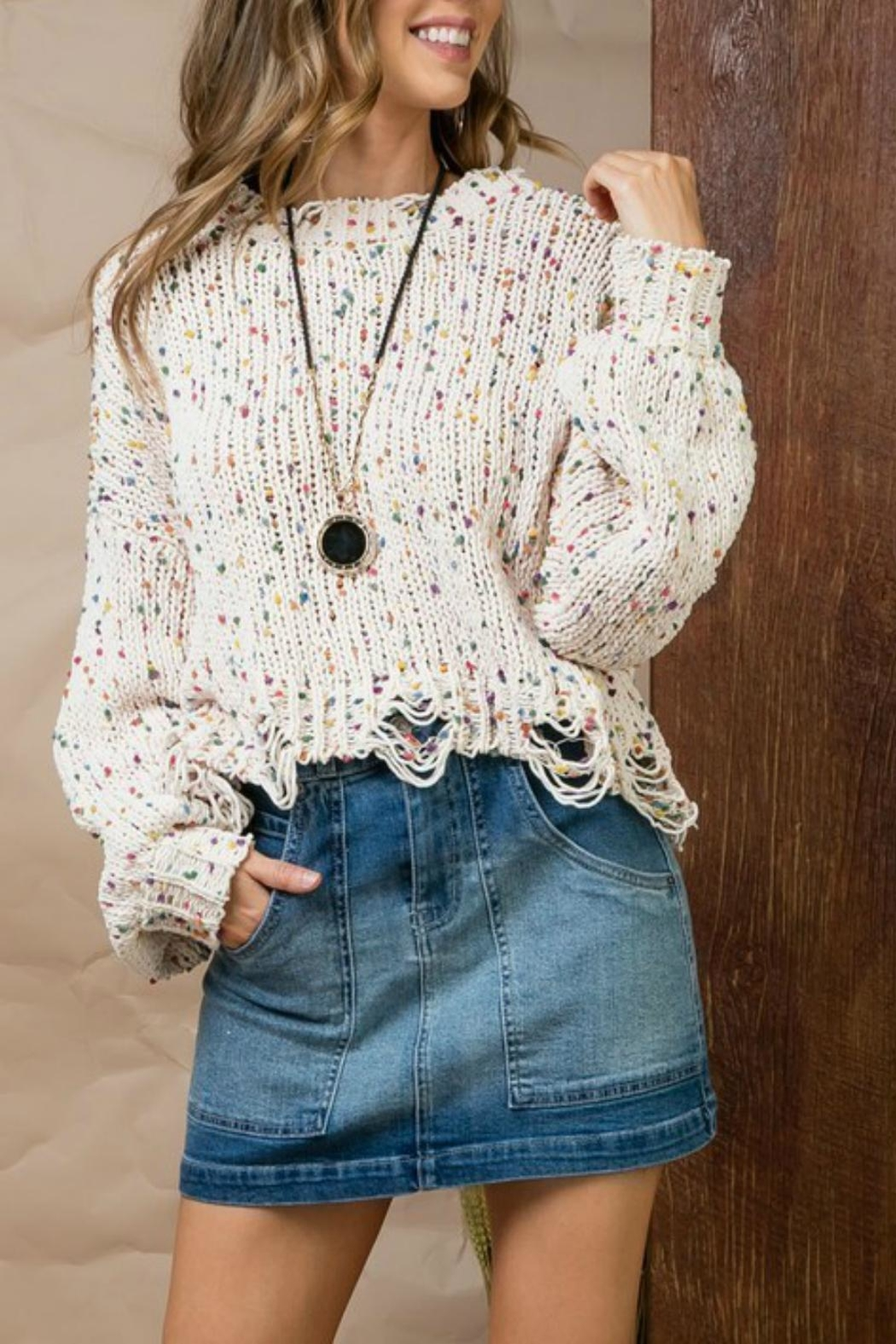 Pretty Little Things Confetti Distressed Sweater - Main Image