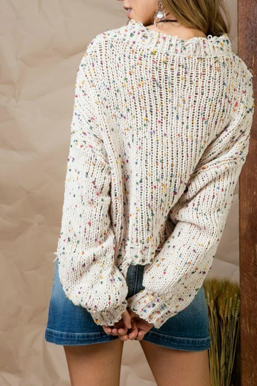 Pretty Little Things Confetti Distressed Sweater - Side Cropped Image