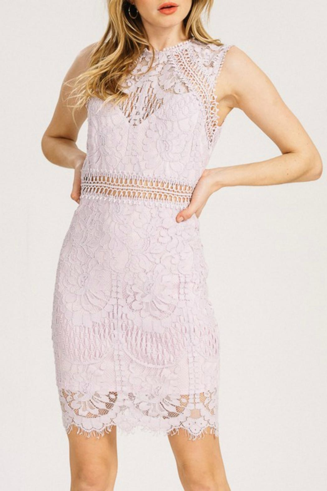 Pretty Little Things Crochet Lace Dress - Front Cropped Image