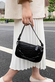 Pretty Little Things Croco Chain Bag - Front cropped