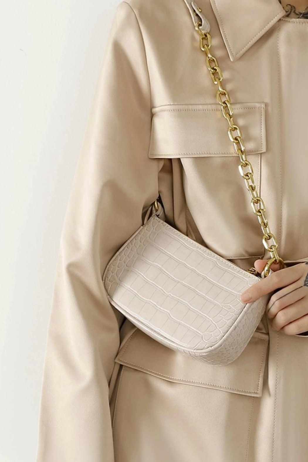 Pretty Little Things Croco Chain Bag - Front Full Image