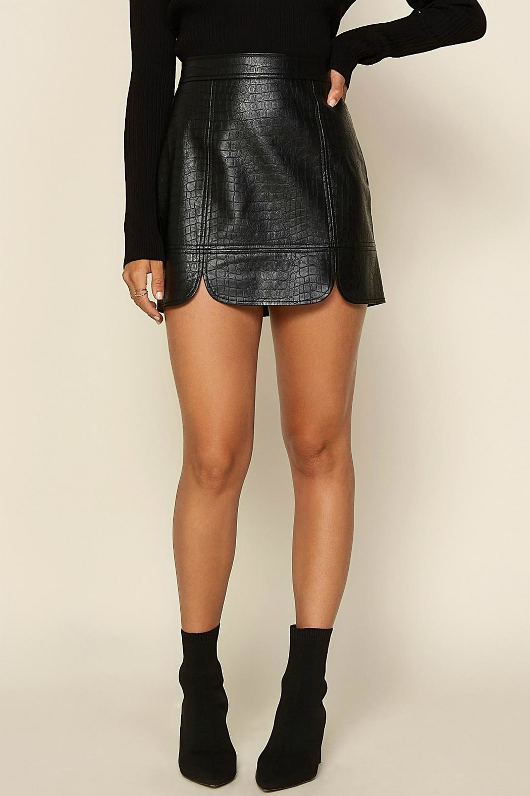 Pretty Little Things Crocodile Leather Skirt - Main Image