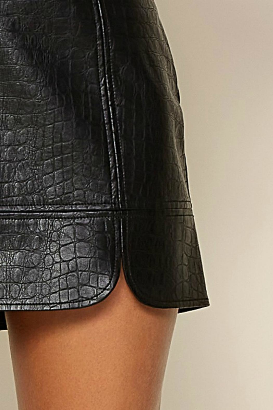 Pretty Little Things Crocodile Leather Skirt - Front Full Image