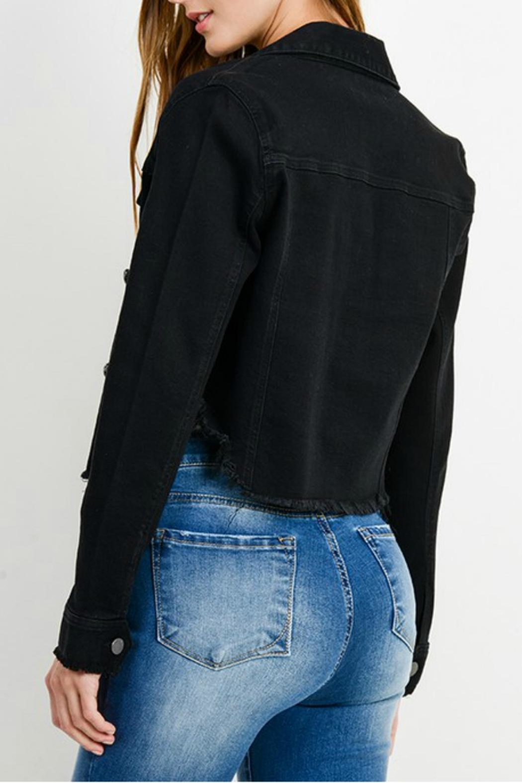 Pretty Little Things Cropped Denim Jacket - Front Full Image