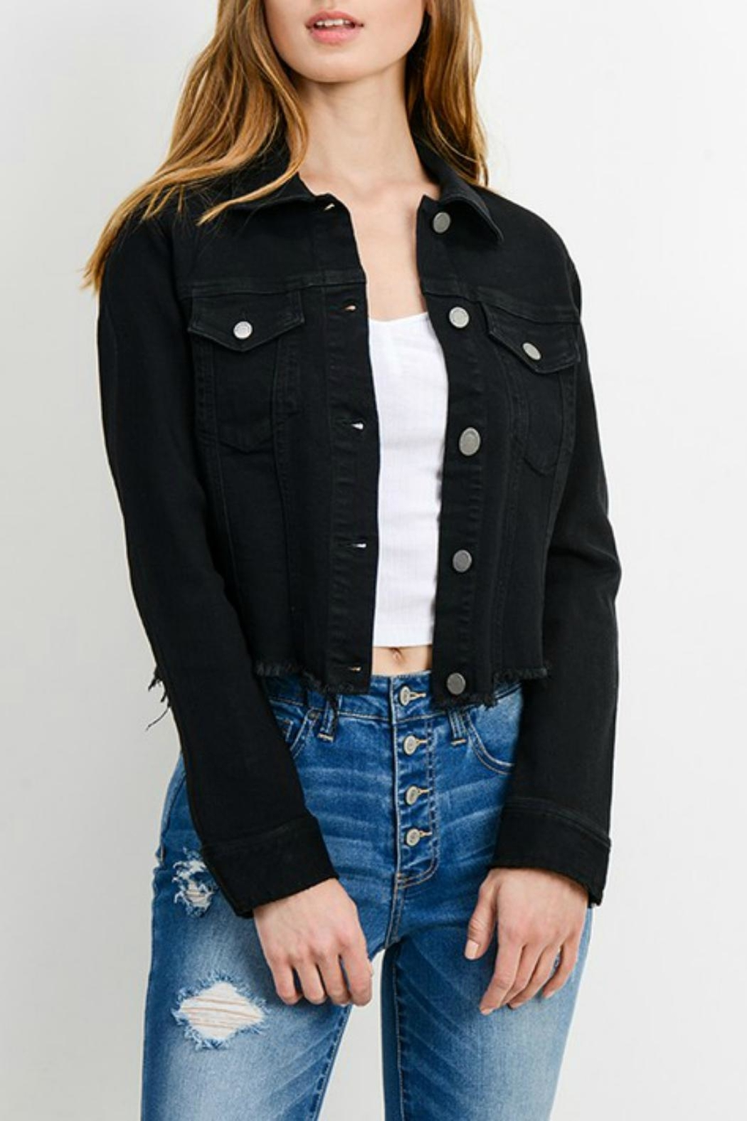 Pretty Little Things Cropped Denim Jacket - Front Cropped Image