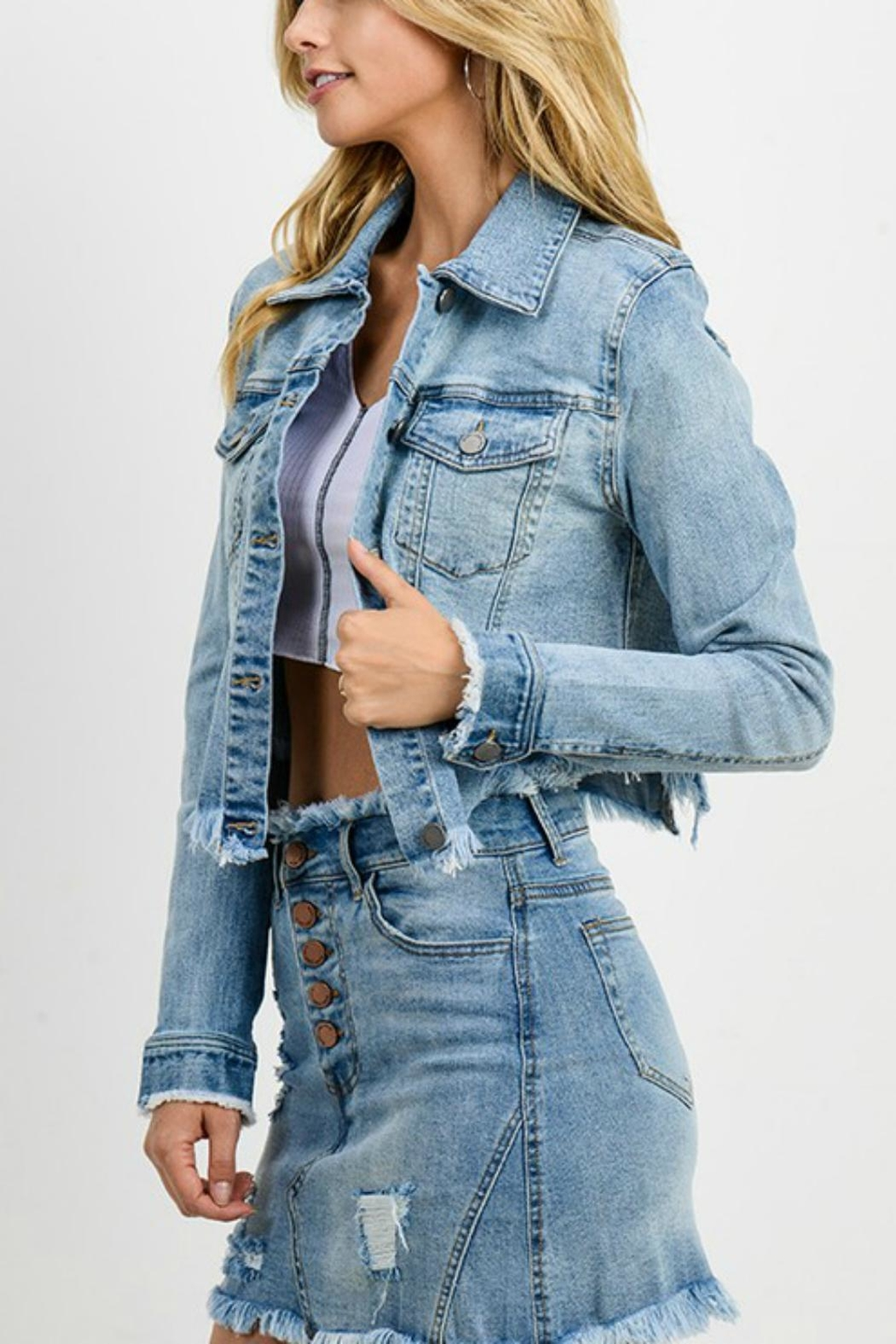 Pretty Little Things Cropped Denim Jacket - Side Cropped Image