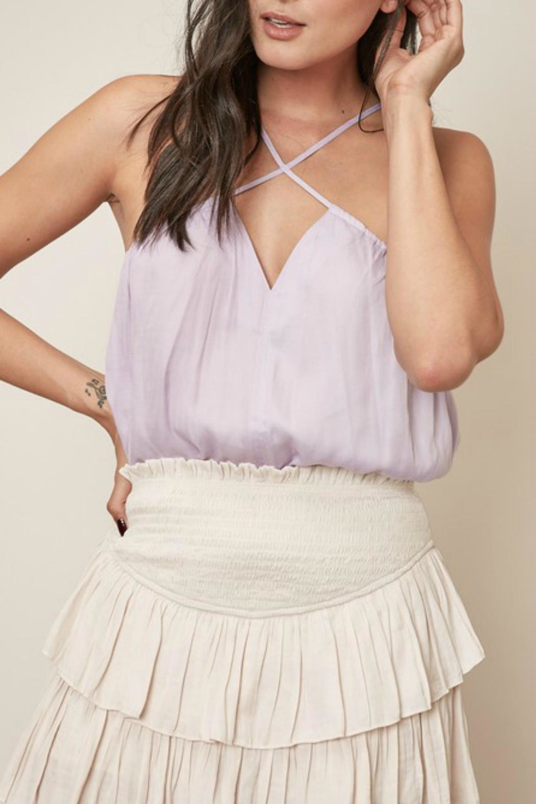 Pretty Little Things Cross Halter Top - Front Cropped Image